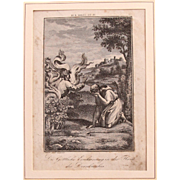 18th Century Copper Engraving of Moses and the Burning Bush