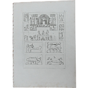 1802 Original Copper Engraving of Different ancient Reliefs from Napoleons Travels to Egypt (Vivant Denon) Page 126