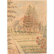 1910's Original Pastel Drawing of the Monastery Garden of Uckerath in Germany by Franz Brantzky