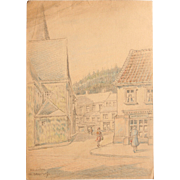 1930's Original Pencil & Pastel Drawing of Ründeroth Germany by Franz Brantzky