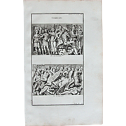 18th Century Copper Engraving of an Ancient Battle Scene from L'antiquité expliquée et représentée en figures by Bernard de Montfaucon