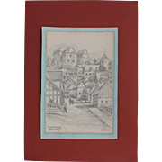 1910's Original Charcoal Drawing of the Village of Westerburg by Franz Brantzky