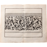 18th Century Copper Engraving of an Ancient Combat Scene from L'antiquité expliquée et représentée en figures by Bernard de Montfaucon