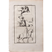 18th Century Copper Engraving of Ancient Horses and Riders from L'antiquité expliquée et représentée en figures by Bernard de Montfaucon