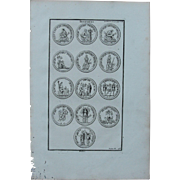 18th Century Copper Engraving of Ancient Roman Trophies from L'antiquité expliquée et représentée en figures by Bernard de Montfaucon