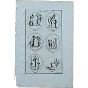 18th Century Copper Engraving of Ancient Roman Victory Reliefs from L'antiquité expliquée et représentée en figures by Bernard de Montfaucon