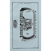 18th Century Copper Engraving of Ancient Roman Praetorian Guard Camp from L'antiquité expliquée et représentée en figures by Bernard de Montfaucon