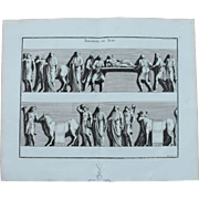 18th Century Copper Engraving of Ancient Roman Scene from L'antiquité expliquée et représentée en figures by Bernard de Montfaucon