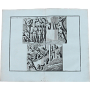 18th Century Copper Engraving of Ancient Roman Scene of Military Fortifications from L'antiquité expliquée et représentée en figures by Bernard de Montfaucon