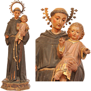 19th Century Sculpture of St. Anthony / Antonio with Jesus Child - Wood Carved Polychrome with Gilt and Glass Eyes
