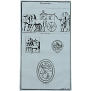 18th Century Copper Engraving of Ancient Roman Reliefs from L'antiquité expliquée et représentée en figures by Bernard de Montfaucon