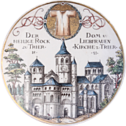 Rare 19th Century Collectors Plate of the Cathedral of Trier by Villeroy & Boch - Handpainted