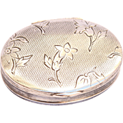 Vintage 900 Silver Pill Box with stunning floral Designs