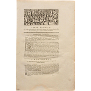 18th Century First Page of L'antiquité expliquée et représentée en figures by Bernard de Montfaucon - with Copper Engraving of an Ancient Roman Scene