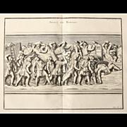 """18th Century Copper Engraving of """"Assault of the Romans"""" from L'antiquité expliquée et représentée en figures by Bernard de Montfaucon"""