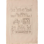 "1802 Original Copper Engraving ""Emblematic Reliefs"" from Napoleons Travels to Egypt (Vivant Denon) Page 127"