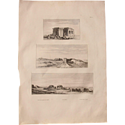 "Antique Print of Views of the Temple of Kom Ombo & temple of Chnubis - Original Copper Engraving from ""Napoleons Travels to Egypt"" (Vivant Denon) 1802"
