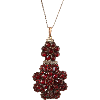 1840's Victorian Garnet Pendent from Bohemia - Necklace with 19th century Garnet Rose Flower