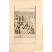 "18th Century Copper Engraving ""Soldiers send to the discovery by Traian"" from L'antiquité expliquée et représentée en figures by Bernard de Montfaucon"