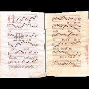 SALE 15th Century Large Illuminated Gregorian Chant Manuscript Page / Renaissance Sheet Music