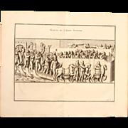 """18th Century Copper Engraving """"Walk of the Roman Army"""" from L'antiquité expliquée et représentée en figures by Bernard de Montfaucon"""