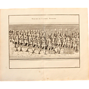 "18th Century Copper Engraving ""Walk of the Roman Army"" from L'antiquité expliquée et représentée en figures by Bernard de Montfaucon"