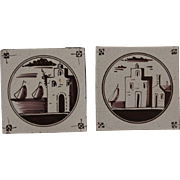 18th century Set of two Dutch Delft Tiles - Purple and White Pottery Tiles with Sail Boats and Houses