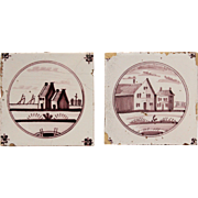 18th century Set of two Dutch Delft Tiles - Purple and White Pottery Tiles with Houses and Sail Boats