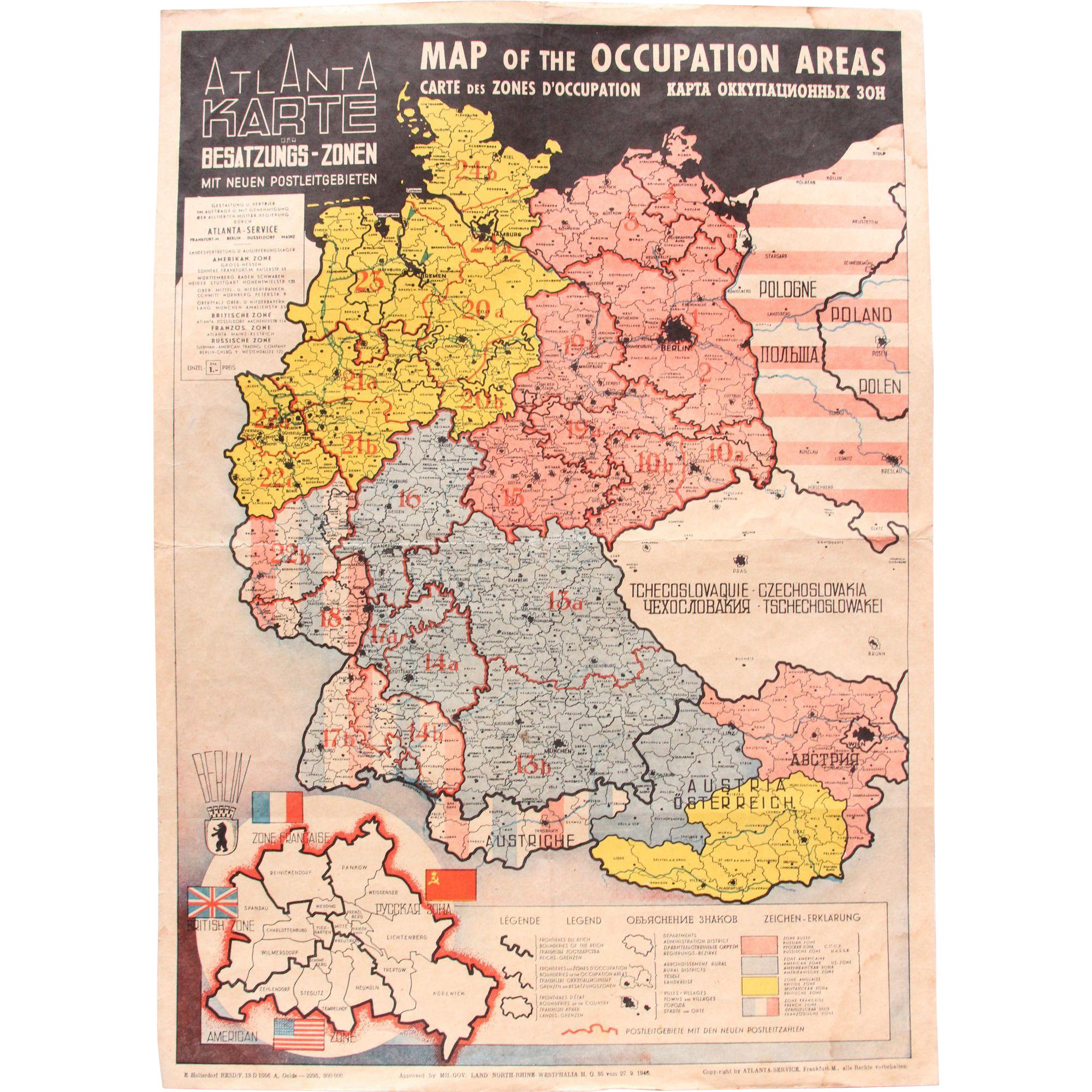 Map Of The Occupied Areas Germany Map After WW Atlanta - Germany map zones