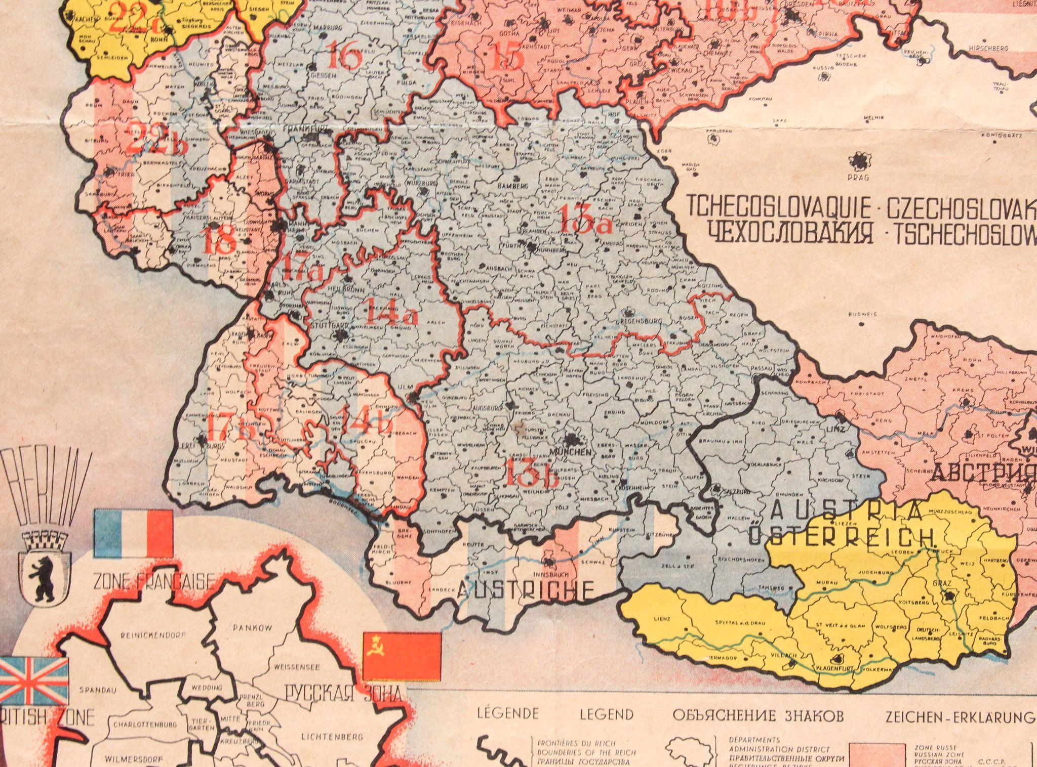 Map Of The Occupied Areas Germany Map After WW Atlanta - Germany map post ww2