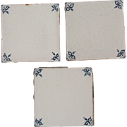 17th Century Set of three Delft Tiles - Dutch Blue & White Tiles with Corner Motif