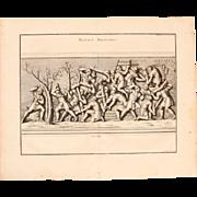 """18th Century Copper Engraving of Ancient Roman Scene """"Military Work"""" from L'antiquité expliquée et représentée en figures by Bernard de Montfaucon"""