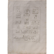 1802 Original Copper Engraving of Different Ancient Egyptian Reliefs from Napoleons Travels to Egypt (Vivant Denon) Page 122