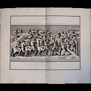 """18th Century Copper Engraving of """"Combat"""" from L'antiquité expliquée et représentée en figures by Bernard de Montfaucon"""