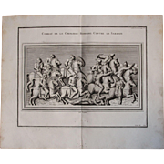 """18th Century Copper Engraving of """"Combat of the cavalry"""" from L'antiquité expliquée et représentée en figures by Bernard de Montfaucon"""