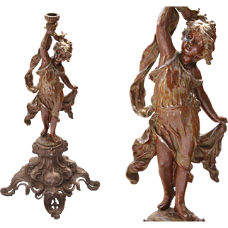 French Art Nouveau Candlestick Sculpture of a Girl - Bronzed Metal