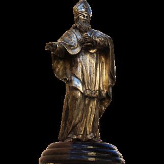 18th Century Baroque Sculpture of  Bishop - Silver plated Bronze