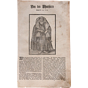 18th Century Woodcut Print of a Pharisee by Isnard from a 1753 Martin Luther Bible