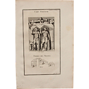 """18th Century Copper Engraving of """"Roman Fortified Camps & Shapes of Tents"""" from L'antiquité expliquée et représentée en figures by Bernard de Montfaucon"""