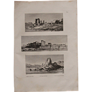 "Antique Print of Views of the Island Philae with its temples - Original Copper Engraving from ""Napoleons Travels to Egypt"" (Vivant Denon) 1802"