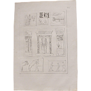 1802 Original Copper Engraving of Different ancient Reliefs from Napoleons Travels to Egypt (Vivant Denon) Page 124