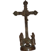 18th Century  Bronze Crucifixion Group - Baroque Cross Jesus