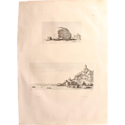 "Antique Print of Views of an ancient Granite rocks and blocks with reliefs in Egypt - Original Copper Engraving from ""Napoleons Travels to Egypt"" (Vivant Denon) 1802"