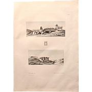 """Antique Print of Views of ancient Ruins of Temples in Egypt - Original Copper Engraving from """"Napoleons Travels to Egypt"""" (Vivant Denon) 1802"""