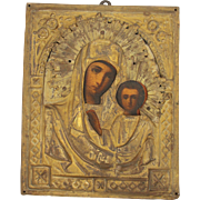 19th Century Russian Icon depicting Mother Mary & Child Jesus Christ - hand painted