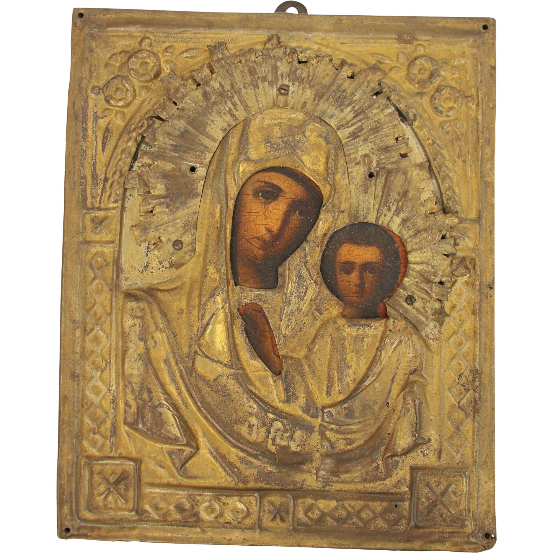 19th Century Russian Icon Depicting Mother Mary Amp Child