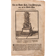 18th Century Woodcut Print of Ark of the Covenant from a 1753 Martin Luther Bible