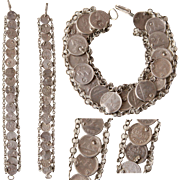 19th Century Victorian 900 Silver Coin Bracelet with Quarter Real Coins from Guatemala