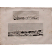 """Antique Print of Views of Temples in Thebes & Luxor in Egypt - Original Copper Engraving from """"Napoleons Travels to Egypt"""" (Vivant Denon) 1802"""
