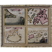 17th Century Very Scarce Maps / Sea Charts of the Greece Islands (Vincenzo CORONELLI)